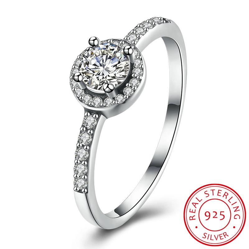 [해외]100 % 진짜 순수한 솔리드 925  반지 약혼 결혼 파티 쥬얼리 여성을고전적인 AAA 지르콘 반지 PSVR190/100% Real Pure Solid 925 Sterling Silver Ring Engagement Wedding Party Jewelry Cl