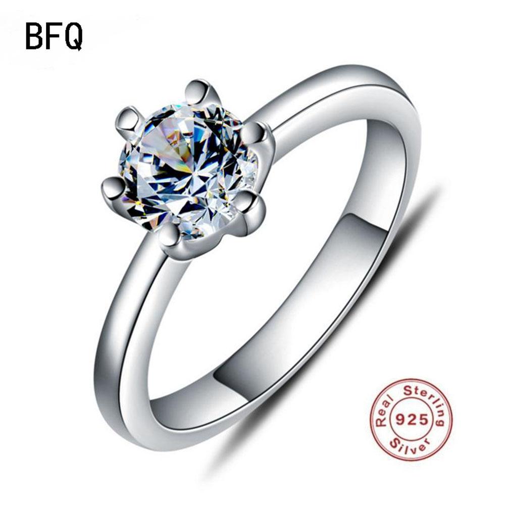 [해외]2018 BFQ 100 % 925 Standard Silver Ring 여성 및 약혼 S925 Gift Prom 파인 쥬얼리 링/2018 BFQ 100% 925 Standard Silver Ring Women&s Engagement S925 Gift Prom F