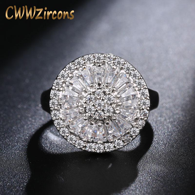 [해외]CWWZircons 웨딩 밴드 둥근 모양 채널 설정 반짝이 큐빅 지르코니아 럭셔리 빅 링 여성 R032/CWWZircons  Wedding Band Round Shape Channel Setting Shiny Cubic Zirconia Luxury Big Rin