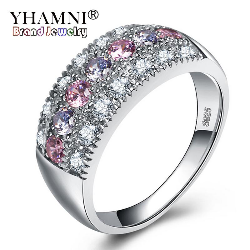 [해외]YHAMNI 원래 진짜 솔리드 925 실버 반지 럭셔리 파인 쥬얼리 여러 가지 빛깔의 입방 지르콘 패션 액세서리 반지 여성 KY01/YHAMNI Original Real Solid 925 Silver Rings Luxury Fine Jewelry Multicol