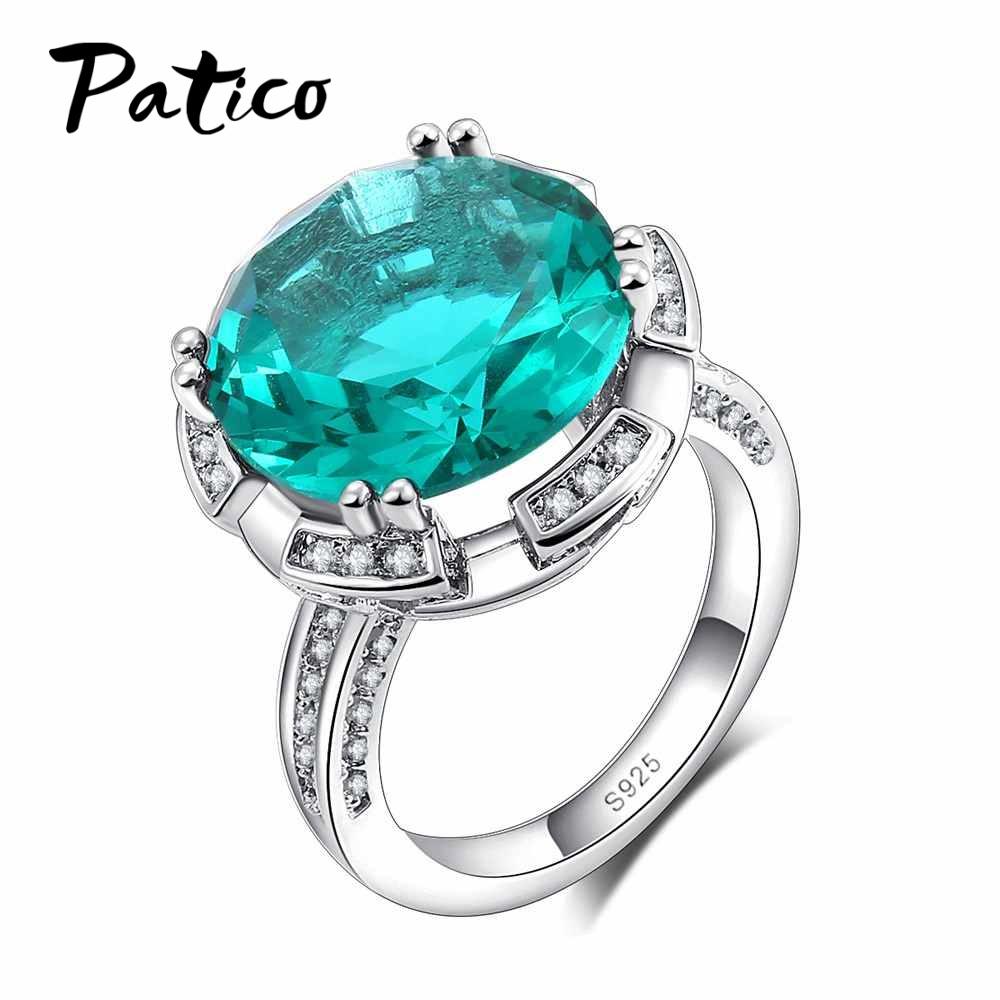 [해외]PATICO 925 스털링 실버 반지 여성 패션 그린 / 블루 빅 라운드 크리스탈 웨딩 쥬얼리 Bague Party Gift/PATICO 925 Sterling Silver Ring Ladies Fashion Green/Blue Big Round Crystal