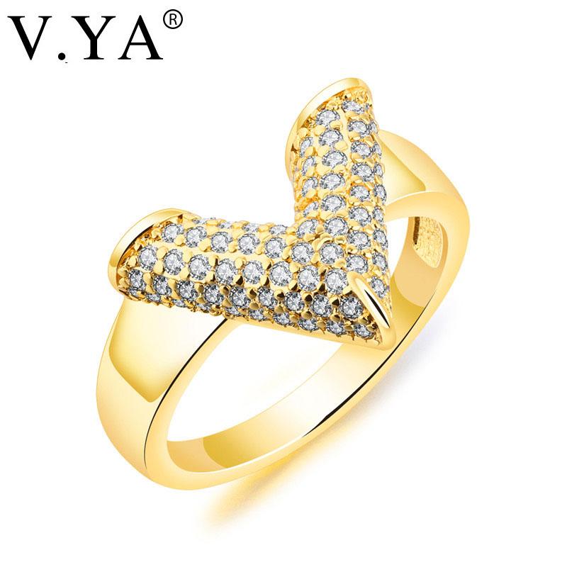 [해외]V.YA 독특한 디자인 V 모양의 상감의 크리스탈 반지 여성 결혼 반지 스테인레스 스틸 골드 컬러 럭셔리 러브 걸 선물/V.YA  Unique Design V Shape Inlaid Crystal Rings Women Wedding Ring Stainless S