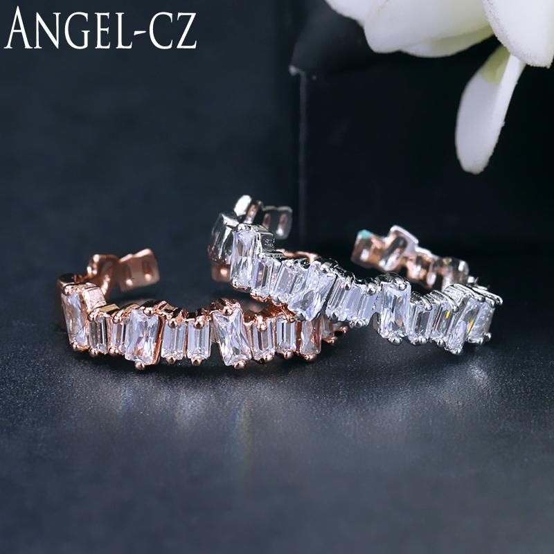 [해외]ANGELCZ 바게뜨 큐빅 지르코니아 여자를간단한 Resizeable 반지 로즈 골드 컬러 기하학 보석 한국 패션 스타일 AR037/ANGELCZ Baguette Cubic Zirconia Simple Resizeable Rings For Women Rose G