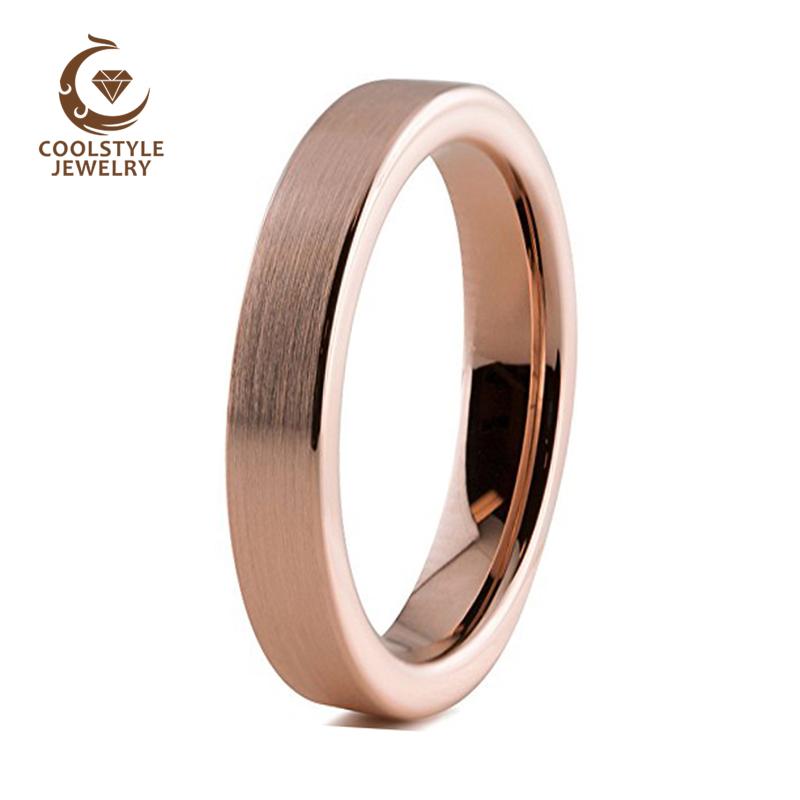[해외]여자에 대 한 여자의 4mm 텅스텐 카바 이드 웨딩 밴드 숙 녀 로즈 골드 컬러 파이프 컷된 매트 컴포트 맞추기/Womens 4mm Tungsten Carbide Wedding Band for Girls Ladies Rose Gold Color Pipe cut