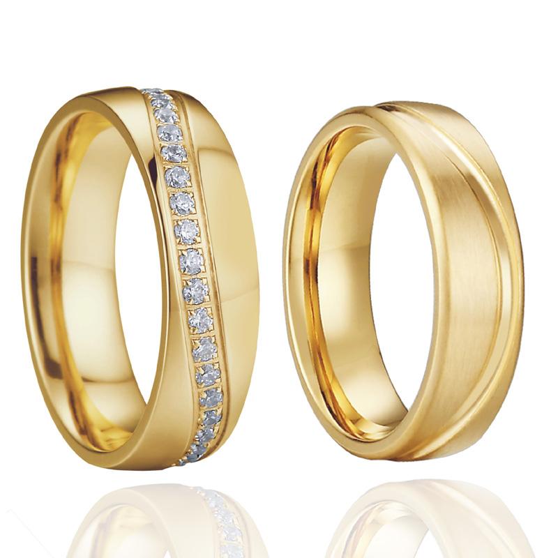 [해외]큐빅 지르코니아 웨딩 밴드 약혼 반지 남성 골드 컬러 수제 보석 제휴 커플 반지 여성을위한/Cubic Zirconia Wedding Band Engagement Rings Men Gold color Handmade Jewelry Alliances Couple R