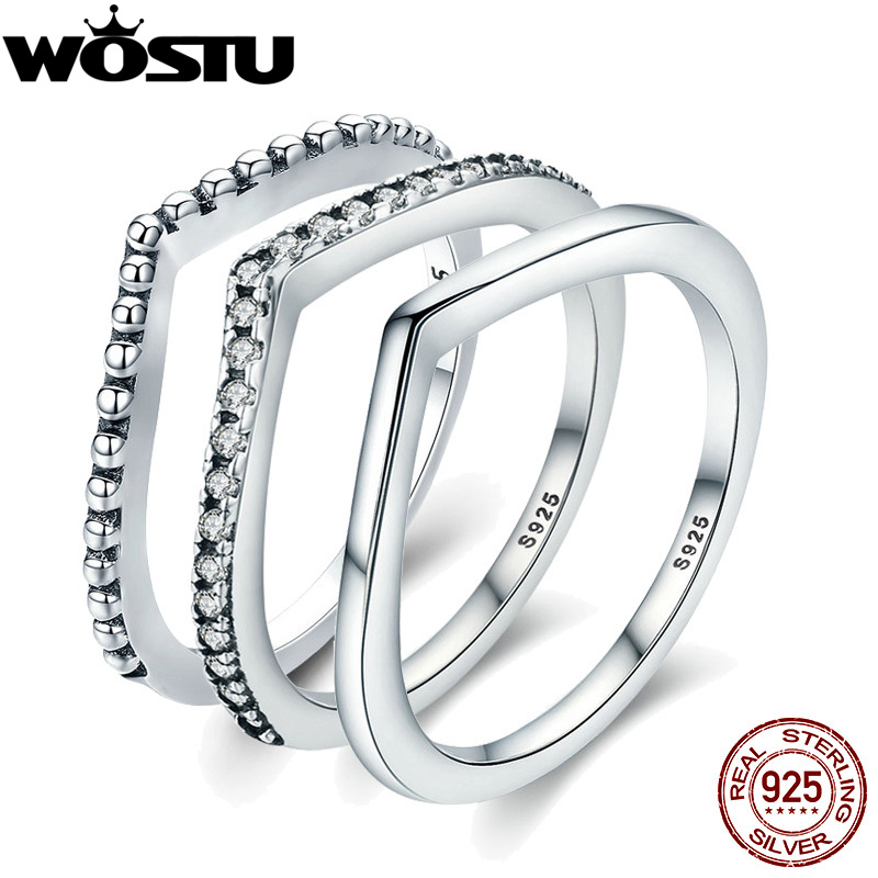 [해외]WOSTU 2018 새로운 100 % 925 스털링 실버 반짝임 소원 여성을쌓을 수있는 손가락 반지 유행 본래 보석 선물 SDP7649/WOSTU 2018 New 100% 925 Sterling Silver Shimmering Wish Stackable Fing