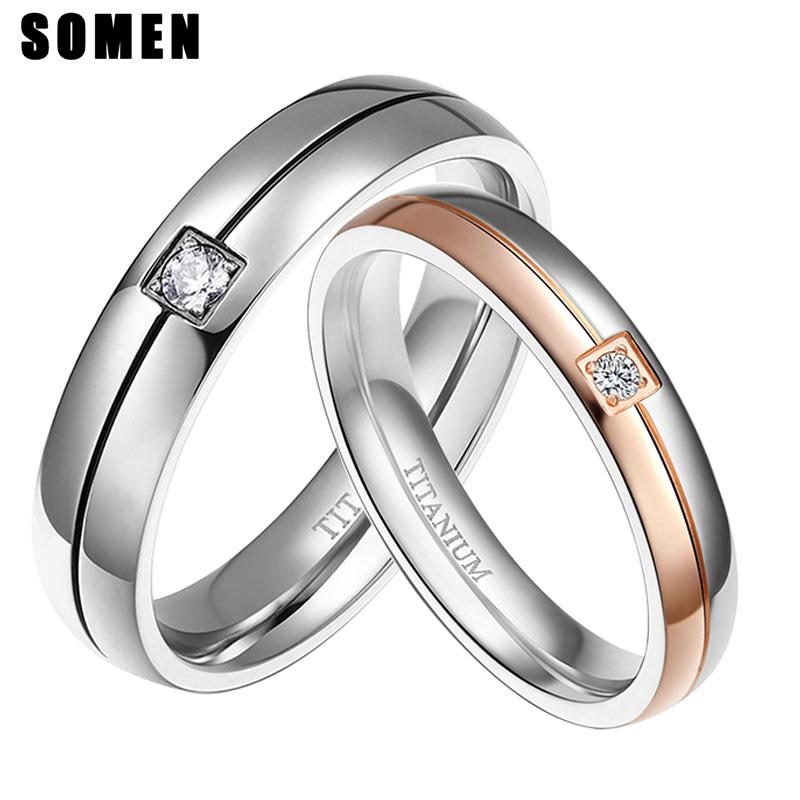 [해외]Somen 4mm 5mm 웨딩 커플 티타늄 링은 연인을 위해 설정 실버 로즈 골드 컬러 크리스탈 CZ 남성 여성 결혼 웨딩 쥬얼리/Somen 4mm 5mm Wedding Couple Titanium Ring Set For Lovers Silver Rose Gol