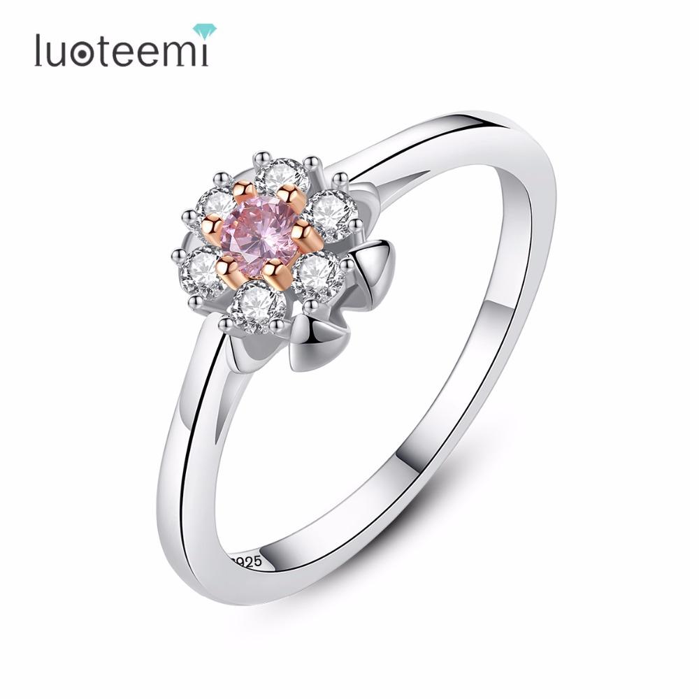 [해외]LUOTEEMI 반지 925 스털링 실버 플라워 모양 지우기 색상 새 도착 작은 스타일 여성을손가락 패션 주얼리 고유/LUOTEEMI Ring 925 Sterling Silver Flower Shape Clear Color New Arrival Small Sty