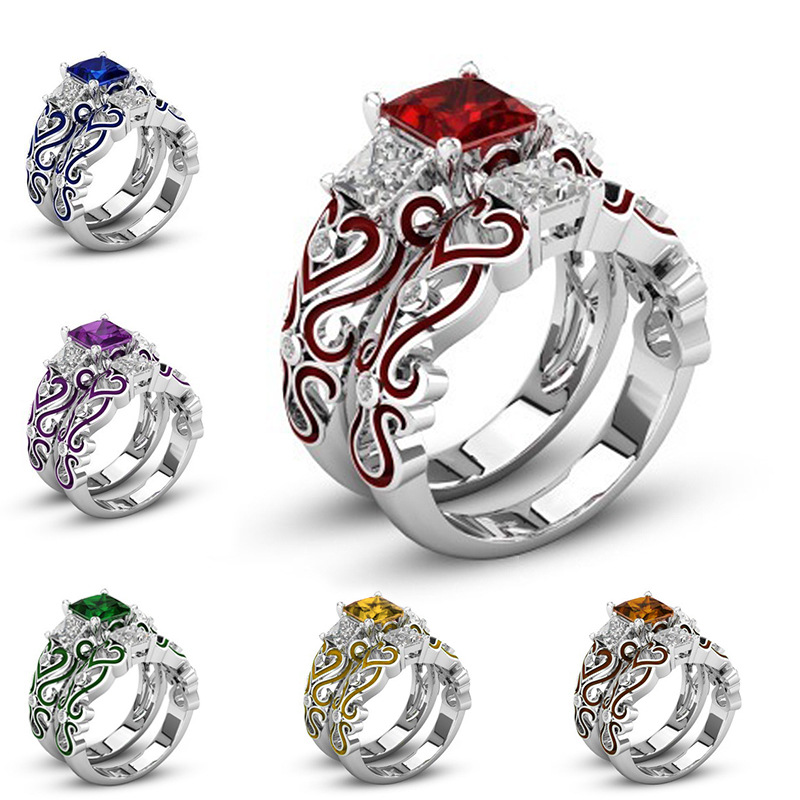 [해외]2018 쥬얼리 RingPurple CZ Heart 여성을사랑의 반지 약혼 여성의 손가락 반지 쥬얼리 Bijoux Size 5 to 12 J3/2018 Jewelry RingPurple CZ Heart Love Rings for Women Engagement W