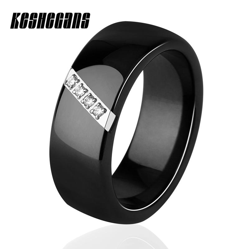 [해외]새로운 8mm 와이드 블랙과 화이트 여성을크리스탈 세라믹 반지 큐빅 지르코니아 클래식 웨딩 파티 반지 약혼 패션 쥬얼리/New 8mm Wide Black And White Crystal Ceramic Ring For Women Cubic Zirconia Clas