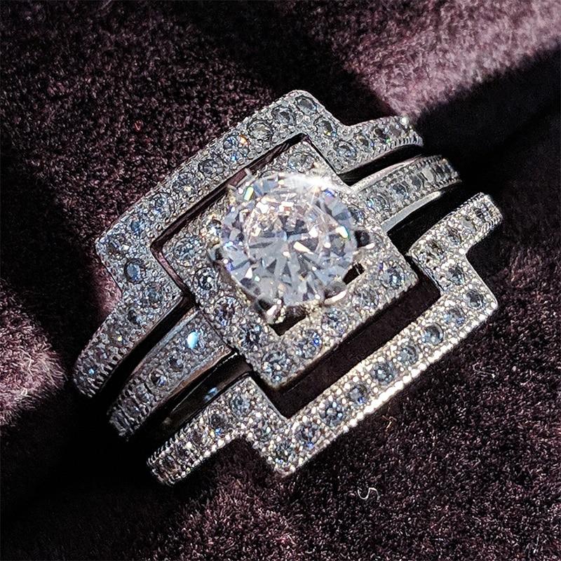 [해외]925 스털링 실버 세 밴드 결혼 반지는 여성을보석 3 보석을 설정 R1431/925 sterling Silver Three Band wedding Ring set for women bridal 3 in 1 jewelry R1431