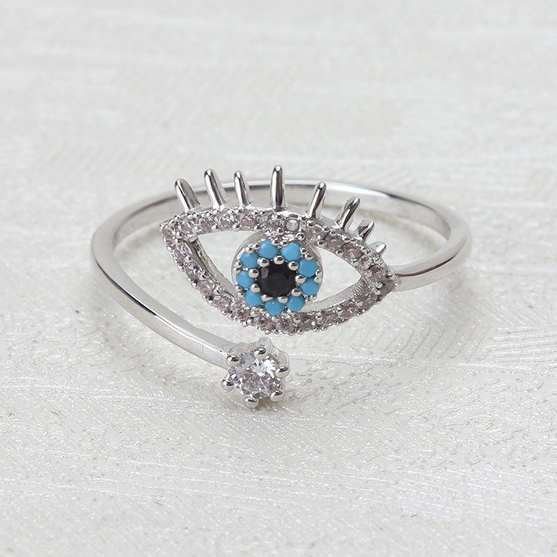 [해외]눈 악마의 은화 구리 악마의 눈 고리 마이크로 포장 반지 트렌디 한 마음의 악마의 은화 반지 여자 보석 반지 파티 선물을위한/EYE EVIL sliver copper evil eye ring micro pave rings trendy heart evil eye