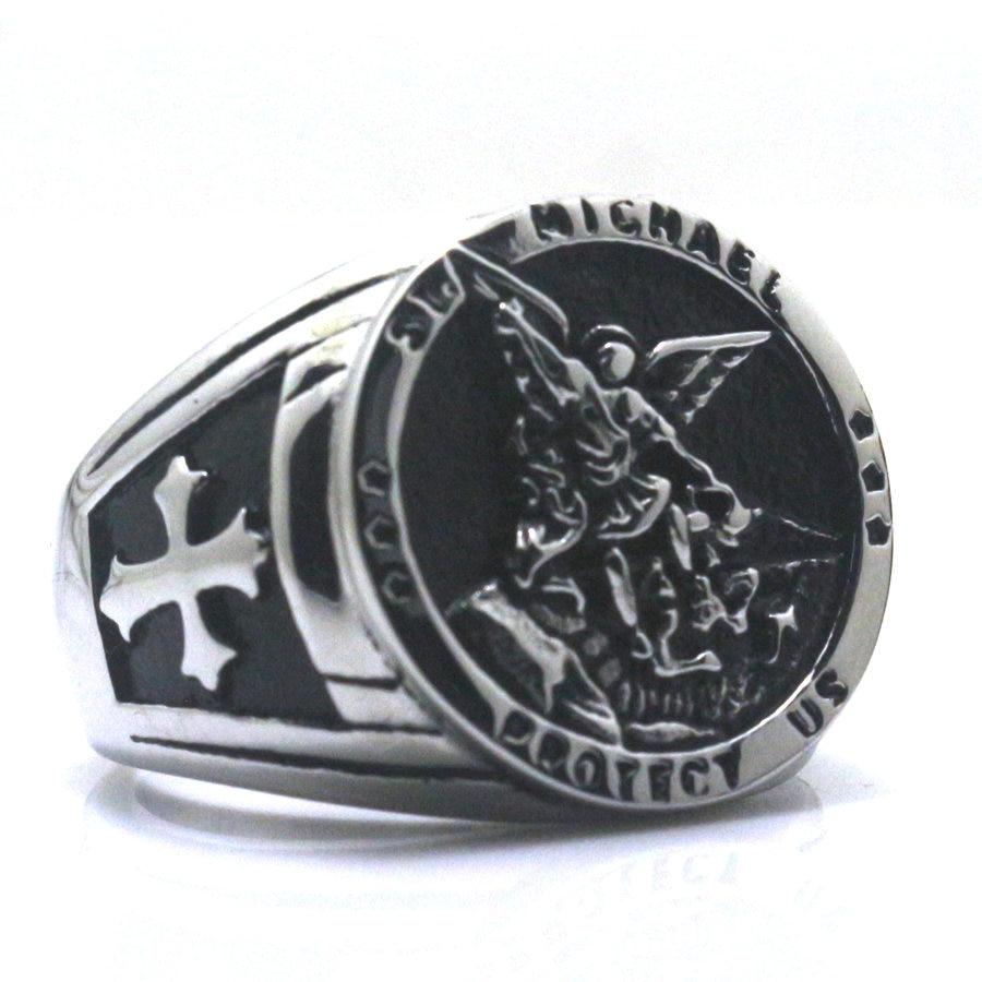 [해외]남자 소년 크로스 세인트 마이클 보호 미국 314L 스테인레스 스틸 쿨 라운드 링 최신 두 선택/Men Boy Cross St. Michael Protect US 314L Stainless Steel Cool Round Ring Newest  Two Choice