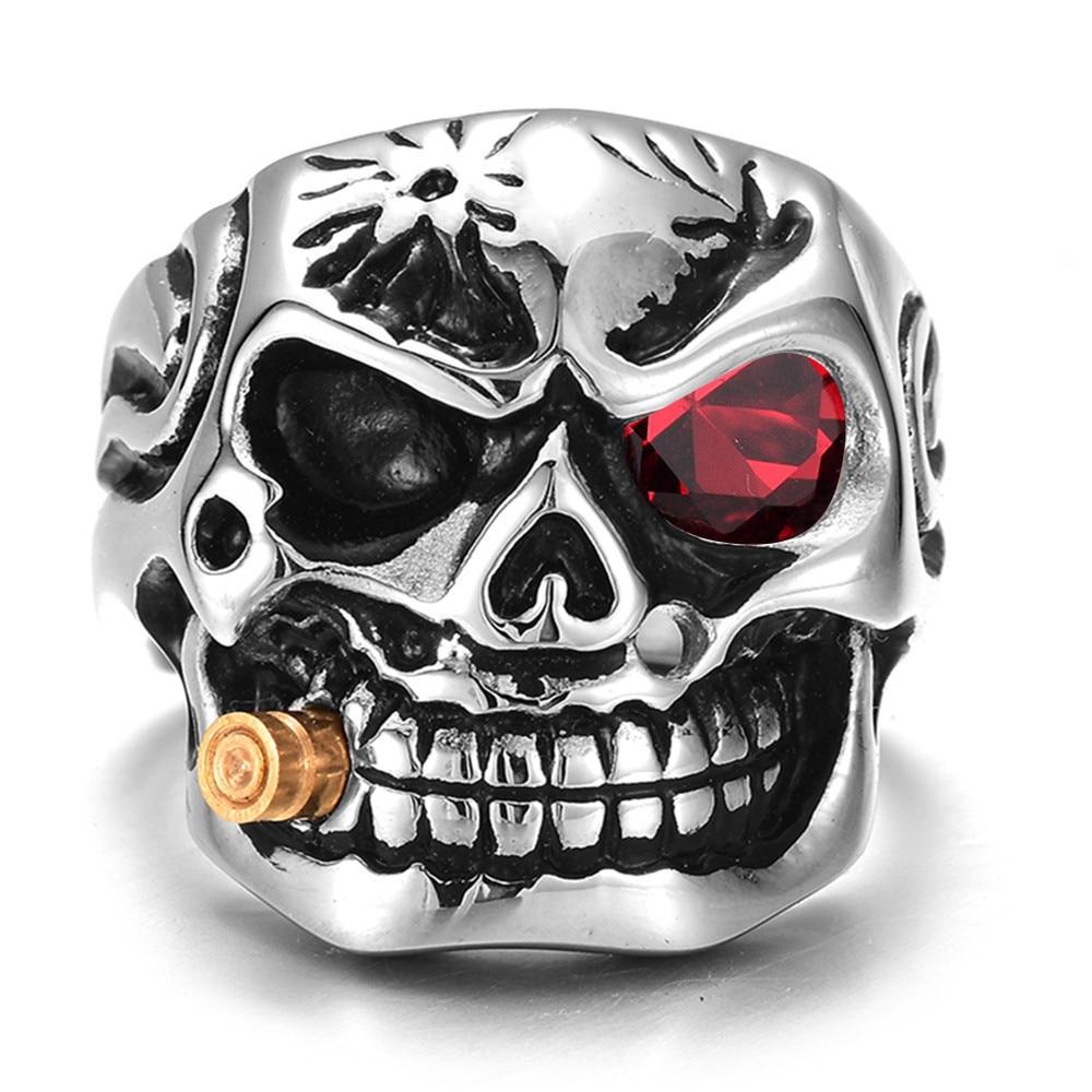 [해외]HNSP 펑크 Domineering 연기 남자 해골 머리 손가락 반지 너클 고딕 보석 실버 색상 8-14 큰 크기의 반지 남성 Anel/HNSP Punk Domineering Smokes Skull head Finger Ring For Men knuckle Go