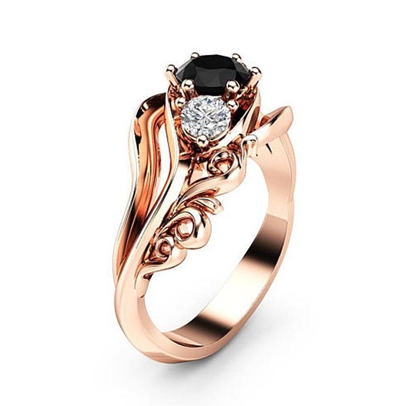 [해외]하이난 텐디 로즈 여성을골드 플라워 링 결혼 반지 블랙 큐빅 지르코니아 약혼 반지 지르콘 쥬얼리 Anillos Mujer/Hainon tendy rose Gold Flower Ring Wedding Rings for Women black Cubic Zirconi