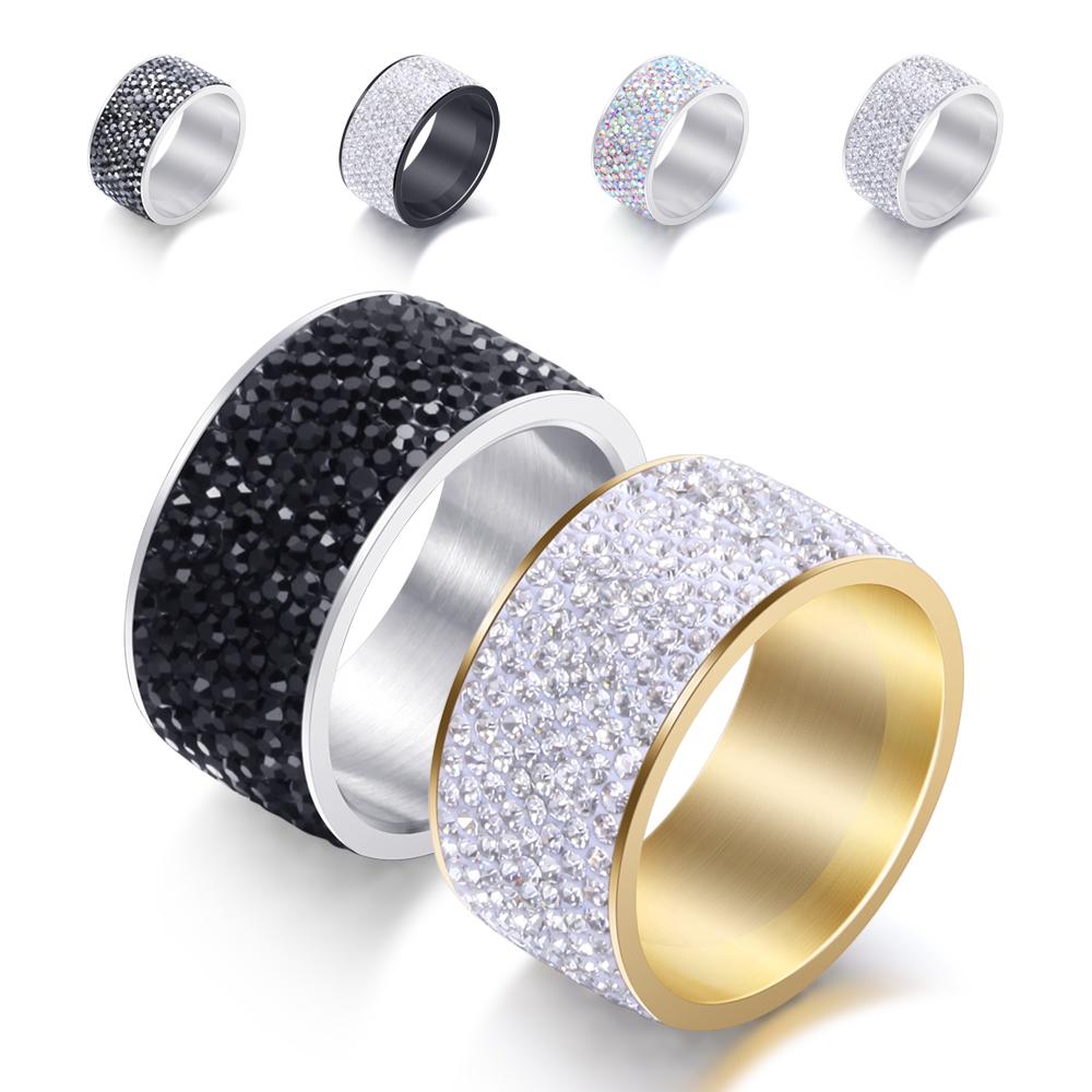 [해외]믹스 컬러 316L 스테인레스 스틸 8 행 크리스탈 포장 웨딩 링 생일 선물 /Mix color 316L Stainless Steel 8 Row Crystal Pave Wedding Rings birthday gift Dropshipping