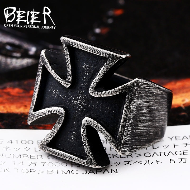 [해외]BEIER Old style  UniBlack Sureface For Woman And Man Stainless Steel Gothic Punk Cross Finger Ring Gift Jewelry BR8-505/BEIER Old style  UniBlack