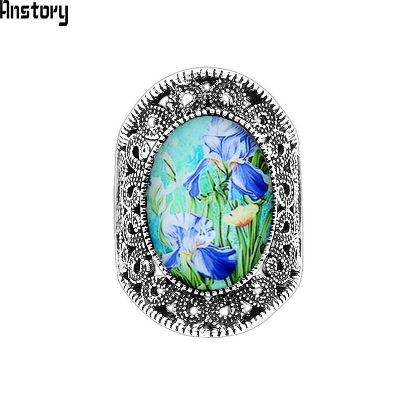 [해외]Oval Daffodil Rings For Women Antique Silver Plated Resin Bead Flower Plant Fashion Jewelry TR685/Oval Daffodil Rings For Women Antique Silver Pla