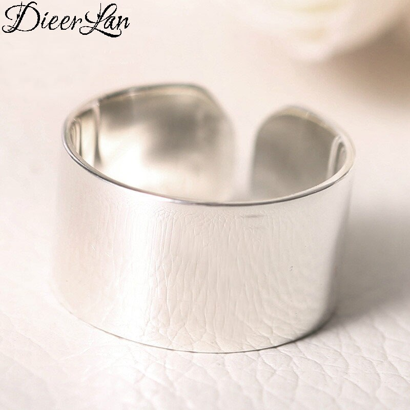 [해외]DIEERLAN 925 Sterling Silver Smooth Rings For Women Jewelry Beautiful Finger Open Rings For Party Birthday Gift/DIEERLAN 925 Sterling Silver Smoot