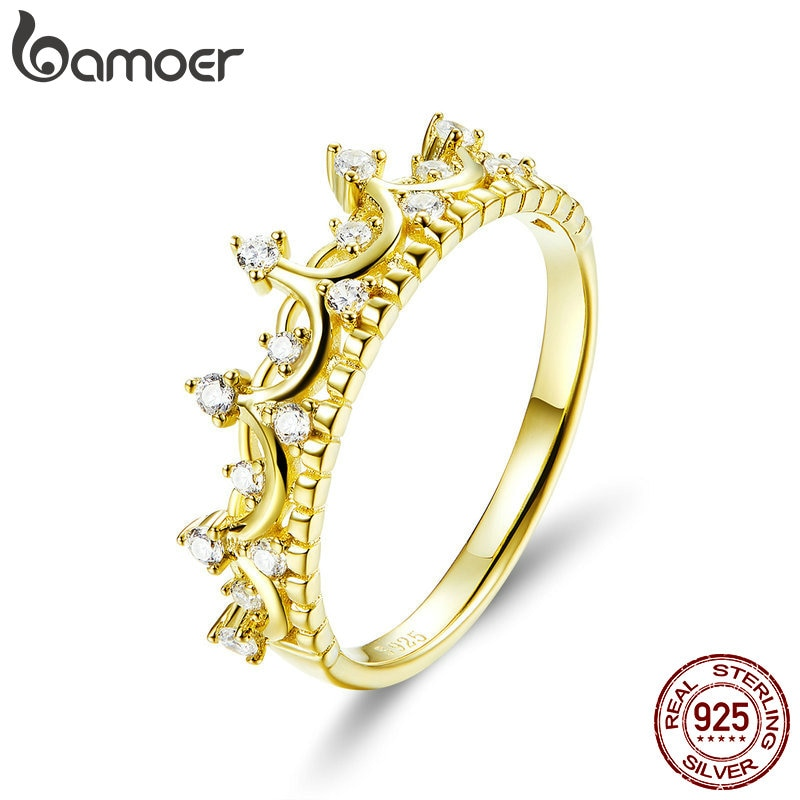 [해외]BAMOER Authentic 925 Sterling Silver Princess Crown Gold Color Crown Rings for Women Wedding Ring Jewelry Anel SCR493/BAMOER Authentic 925 Sterlin