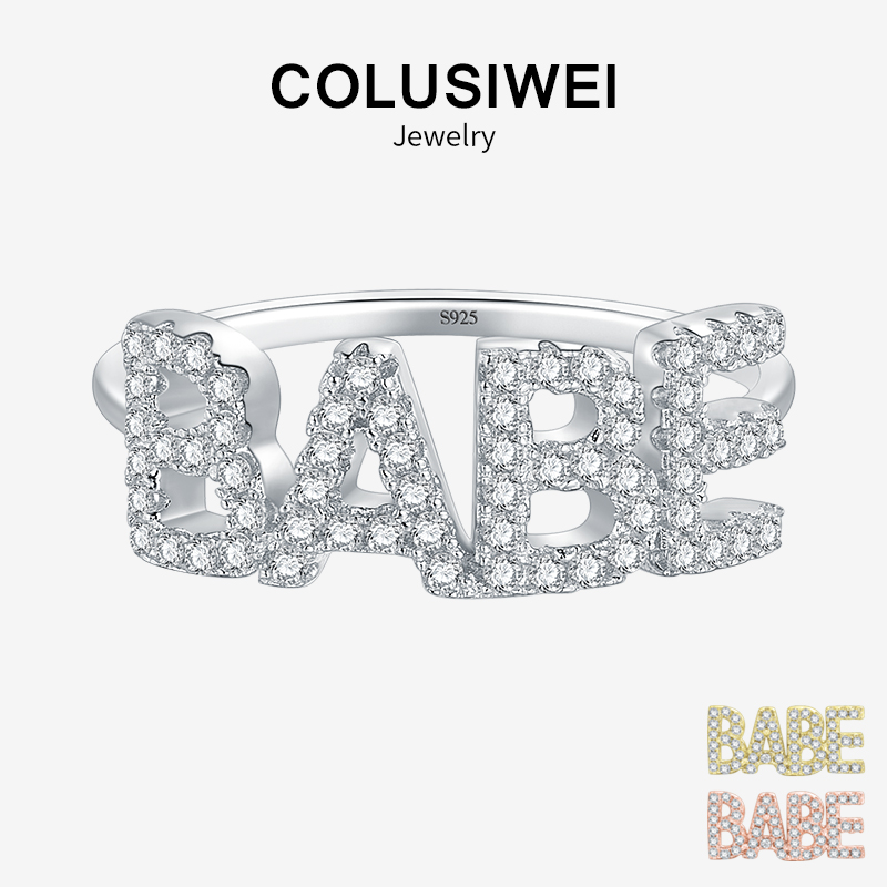 [해외]Colusiwei 925 Sterling Silver Fashion Letter BABE Rings Luxury Rose Gold Color Ins Style For Women Wedding Party Jewelry/Colusiwei 925 Sterling Si