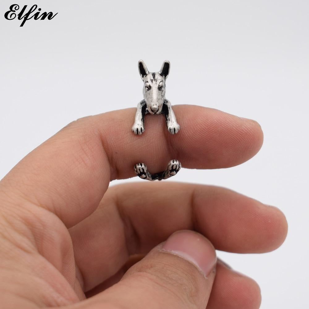 [해외]Elfin Female Vintage Adjustable Bull Terrier Rings Fashion Animal Retro Style Men Jewelry Ring Anillos Mujer Warcraft/Elfin Female Vintage Adjusta