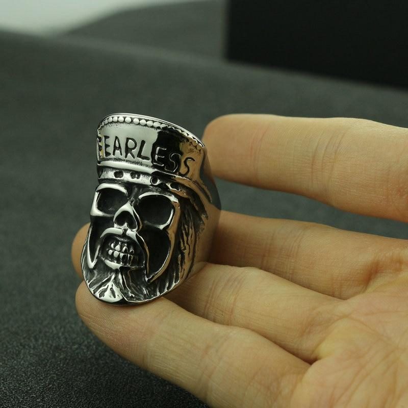 [해외]Stainless steel skull ring men`s inspirational titanium steel jewelry/Stainless steel skull ring men`s inspirational titanium steel jewelry