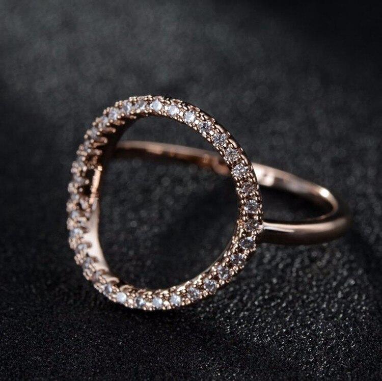 [해외] Brand Jewelry Rose Gold and Silver Color Exquisite Micro Pave Zircon Circle Trendy Knuckle Tail Ring for Women/ Brand Jewelry Rose Gold and Silve