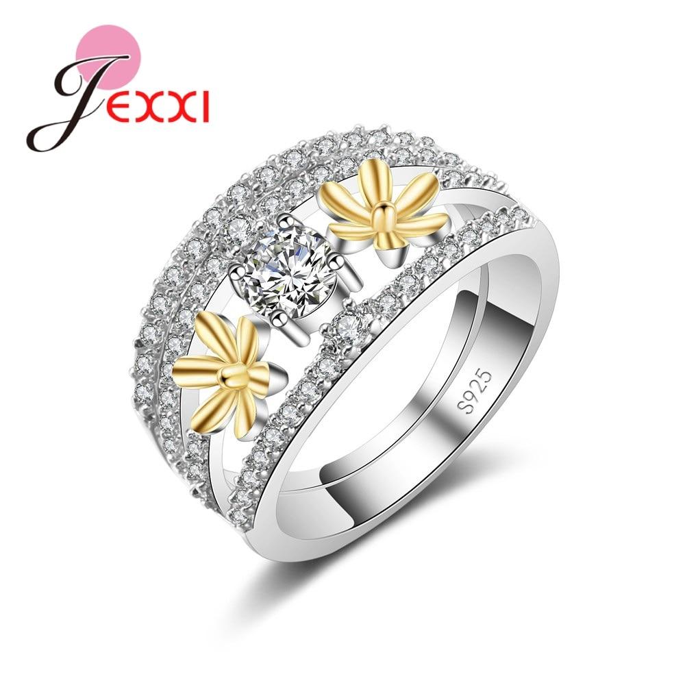 [해외]JEXXI New Design Delicate Concise Charm Tiny Dainty 925 Sterling Silver Beautiful Crystal   Ring For Women Best Jewelry Gift/JEXXI New Design Deli