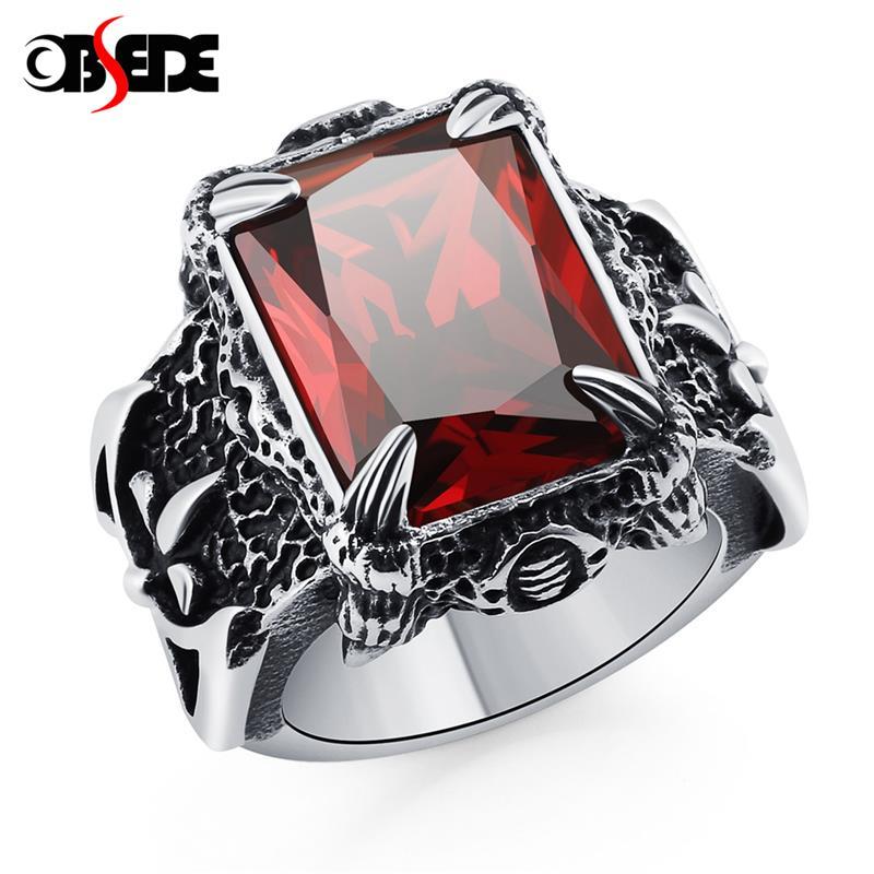 [해외]OBSEDE Punk Men Vintage Antique Rings Jewelry Titanium 316L Stainelss Steel Dragon Claw Red Blue AAAAA Cz Stone Crystal Ring/OBSEDE Punk Men Vinta