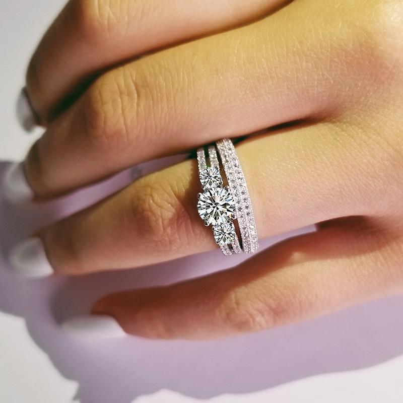 [해외]luxury three stones 925 sterling silver wedding ring set for women bride engagement Jewelry Band eternity gift moonso R4841/luxury three stones 92