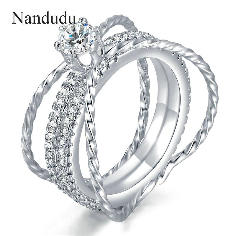 [해외]Nandudu ON  Wedding Ring Special Design Jewelry White Gold Color Cocktail Rings Women Girl Jewelry Accessories Gift R1124/Nandudu ON  Wedding Ring