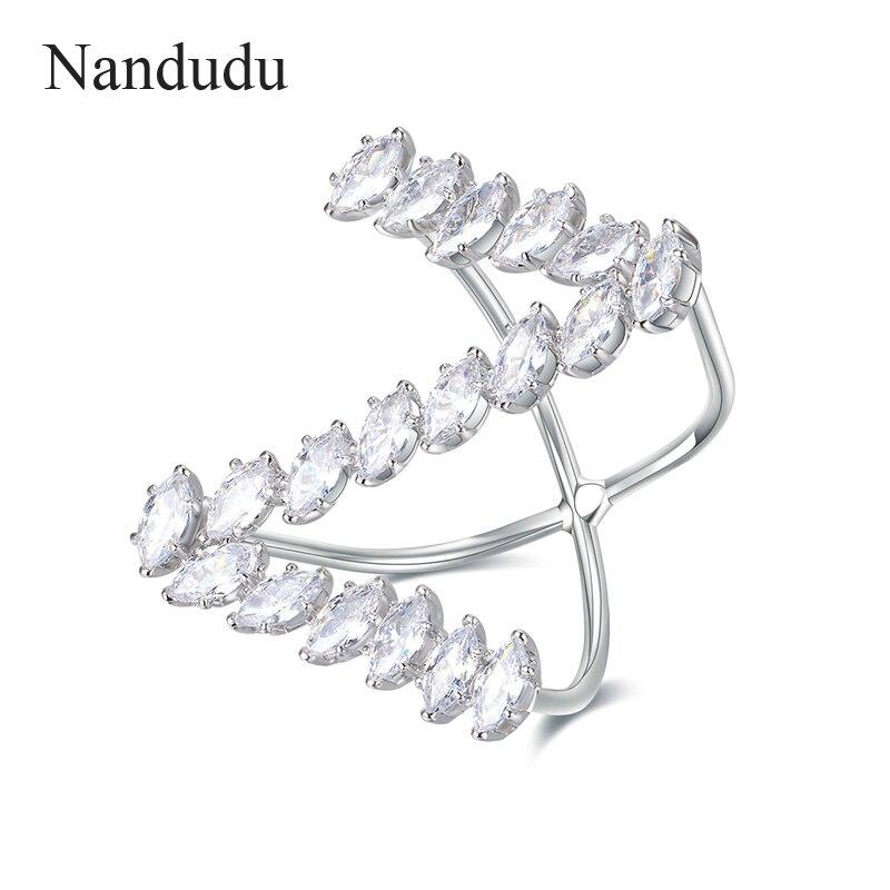 [해외]Nandudu Sparkling Special Design Letter Z Ring Prong Setting AAA Zircon Stone Rings Accessories for Women Cocktail Party R1879/Nandudu Sparkling S