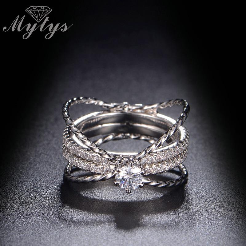 [해외]Mytys Fashion Multi Layers Circle Line Cross Ring White Gold Color Prong Setting Crystal Ring For Female R1124/Mytys Fashion Multi Layers Circle L