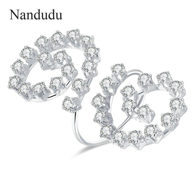 [해외]Nandudu ON  Adjustable Size Ring Women Prong Setting Cubic Zircon Open Free Size Cuff Rings Fashion Jewelry Gift R1143/Nandudu ON  Adjustable Size