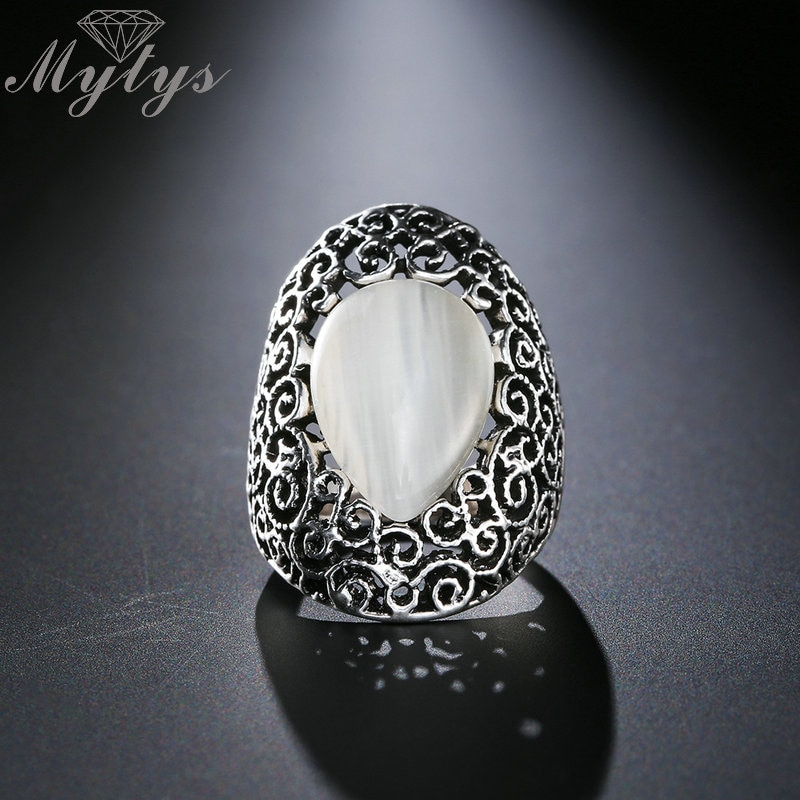 [해외]Mytys Oval Opal Ring for Women Antique Black Lace Pattern Retro Rings Anniversary Jewelry Gift for Mother R1922/Mytys Oval Opal Ring for Women Ant