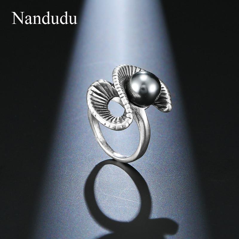 [해외]Nandudu ON  Retro Silver Color S Style Ring & Black Pearl Rings for Women Girl Lady Ring Accessories Jewelry Gift R1998/Nandudu ON  Retro Silv