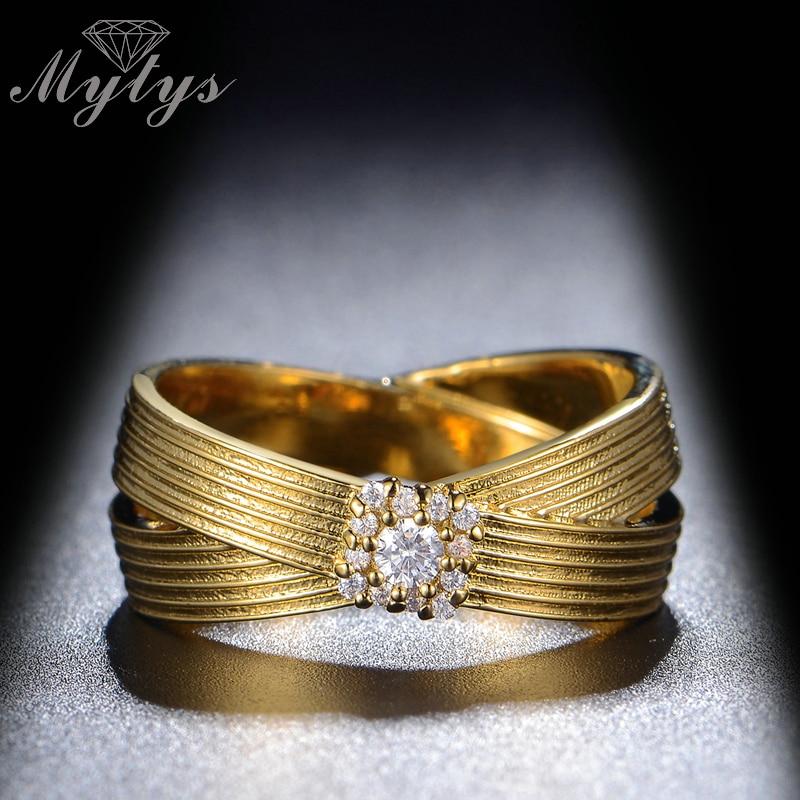 [해외]Mytys Fashion Gold Color Ring 2 Layers Double Circle Cross Ring Wedding Gift For Women R1157/Mytys Fashion Gold Color Ring 2 Layers Double Circle