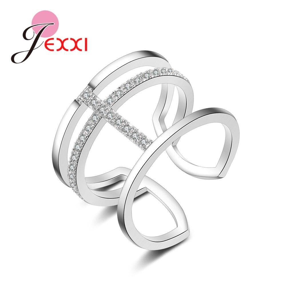 [해외]JEXXI Unique Design Glittering  925 Sterling Silver Cubic Zirconia Resizable Ring   For Women Fashion Jewelry Gift /JEXXI Unique Design Glittering