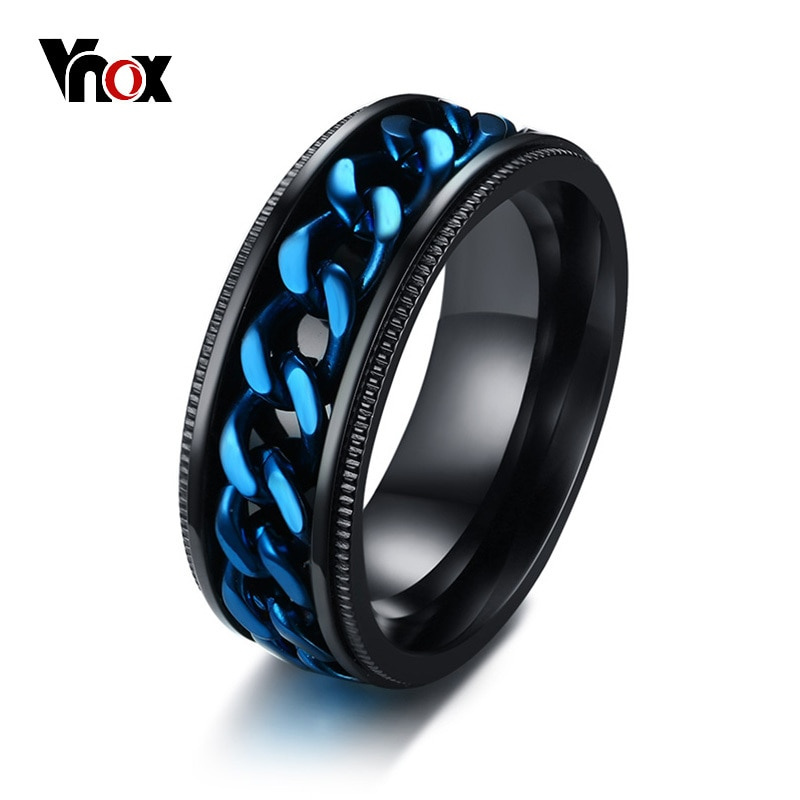[해외]Vnox Mens FIDGET Black RingsBlue Center Curb Chain Spinner Ring Stainless Steel Relieve Stress Worry Male Accessories/Vnox Mens FIDGET Black Rings