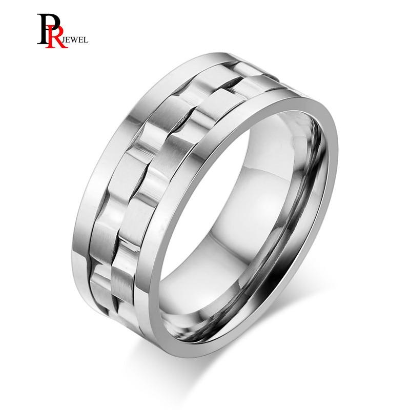 [해외]Unique Double Gear Shaped Spinner Rings for Men 9MM Stainless Steel anel masculino Silver Color/Unique Double Gear Shaped Spinner Rings for Men 9M