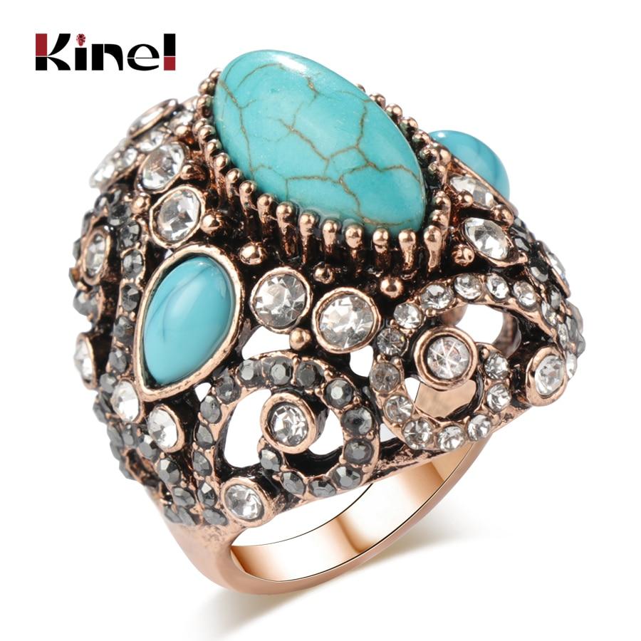 [해외]Kinel Luxury Big Antique Rings For Women Fashion Dubai Gold Blue Stone Vintage Wedding Engagement Crystal Rings Jewelry 2018 New/Kinel Luxury Big