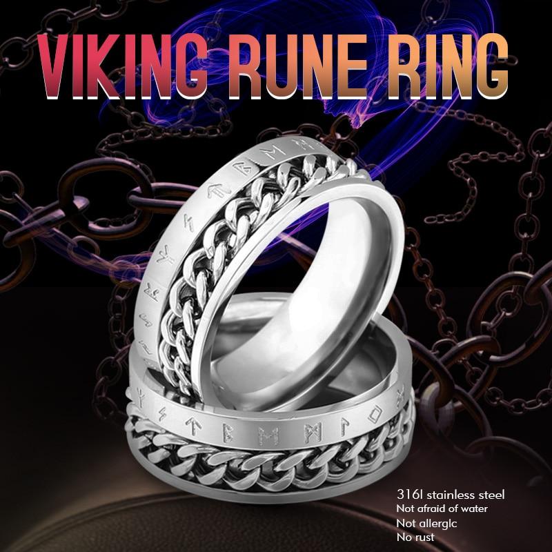 [해외]Beier 316L Stainless Steel Fashion Style nose viking rotatable chain and rune Ring for men jewelry Odin Amulet Vintage  LR-R130/Beier 316L Stainle