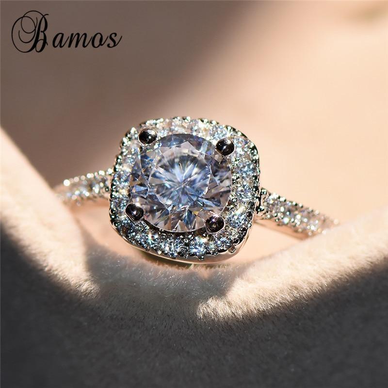 [해외]Luxury Female Zircon Stone Ring Crystal Fashion Silver Color Engagement Rings Promise Wedding Bands For Women Fashion Jewelry/Luxury Female Zircon