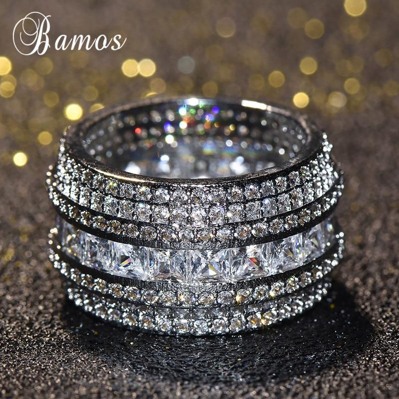 [해외]Luxury Female White Zircon Stoen Ring Fashion Silver Love Engagement Rings For Women Vintage Wedding Band Jewelry Gifts/Luxury Female White Zircon