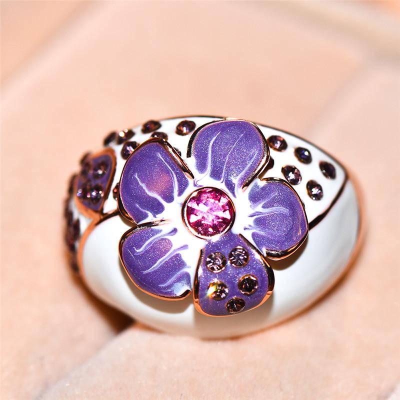 [해외]Cute Female Rose Flower Ring Vintage Rose Gold Color Purple Wedding Rings 2019 Fashion Promise Love Engagement Rings For Women/Cute Female Rose Fl