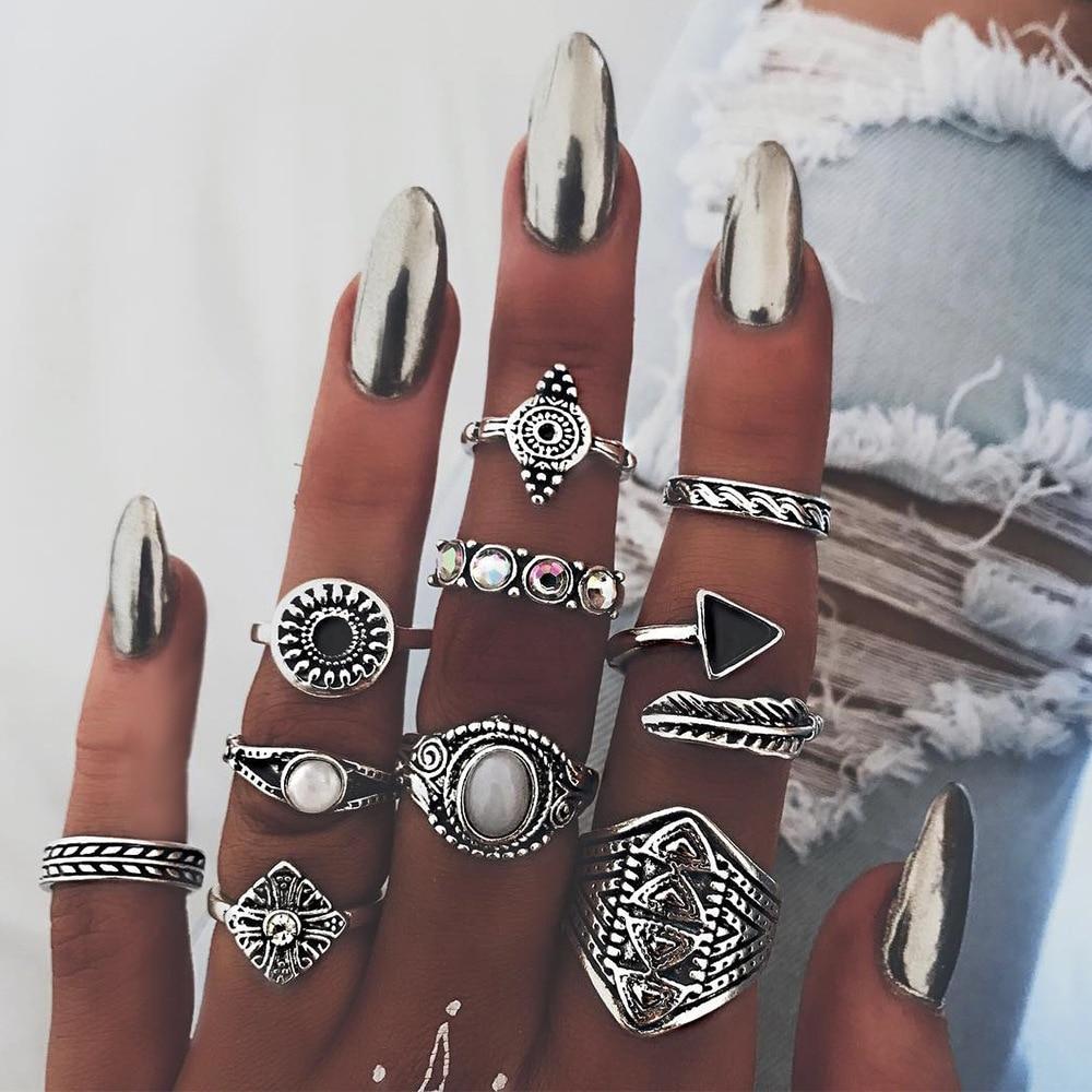 [해외]New Creative Vintage Stainless Steel Rings for Women Geometric Totem Feather Finger Rings Set Boho Jewelry Bague Femme/New Creative Vintage Stainl
