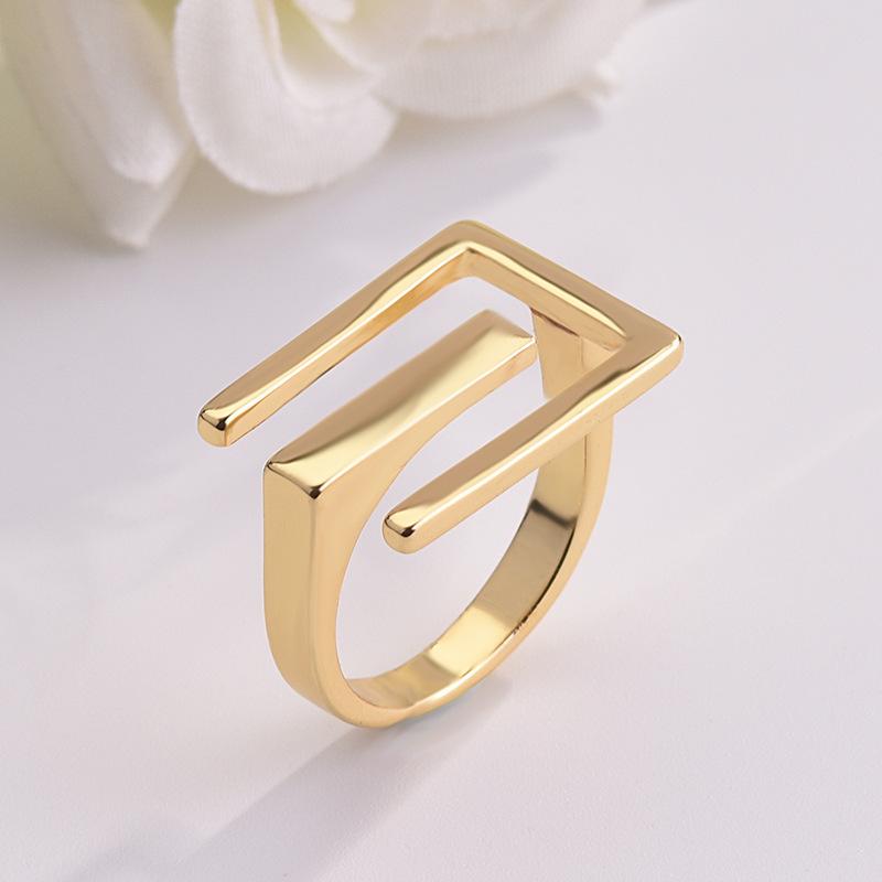[해외]European Fashion Style Geometric Plating Gold Color Rings for Women Ladies Simple Wedding Engagement Rings Jewelry Anillos Mujer/European Fashion