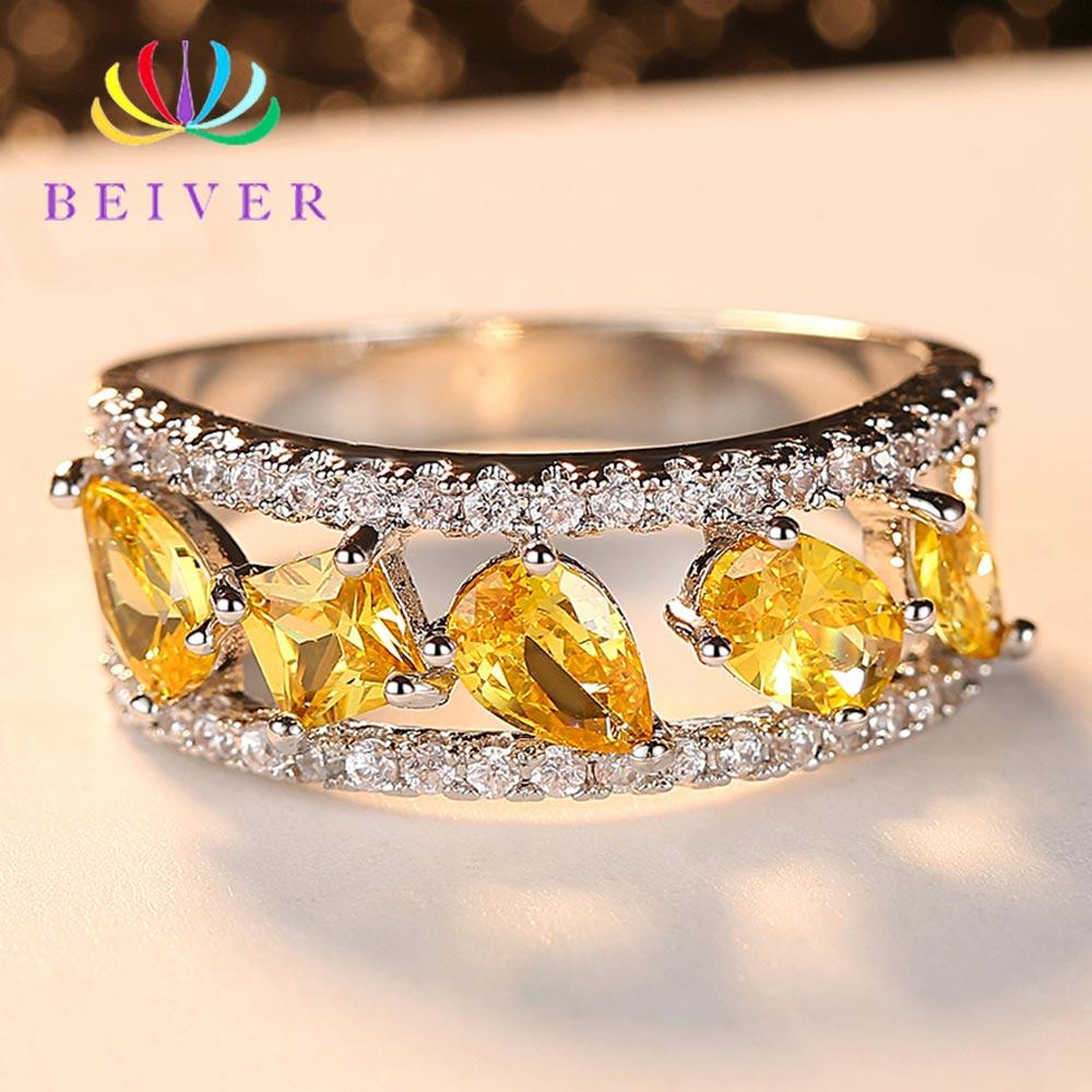 [해외]Beiver Fashion Yellow Cubic Zirconia Wedding Rings for Women Water Drop White Gold Color Wedding Jewelry 2019 New Arrivals/Beiver Fashion Yellow C