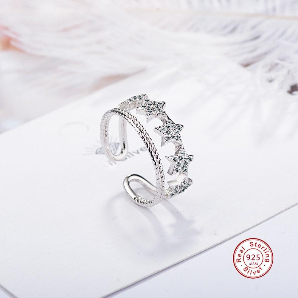 [해외]Authentic 925 Sterling Silver Rings Stackable Star Trail Statement Double Ring For Women Engagement Romantic Jewelry Anel/Authentic 925 Sterling S